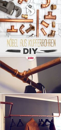 Industrial Design und DIY mit Kupferrohren It's so easy to build a wardrobe out of a copper pipe. Diy Wardrobe, Build A Wardrobe, Copper Tubing, Copper Pipes, Industrial Style, Home Deco, Diy Design, Design Ideas, Diy Furniture