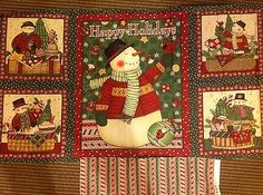 Debbie Mumm Snowmen wall hanging quilting fabric panels with backing