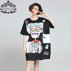 Women Summer Style T-Shirt Big Size Cartoon Pattern Print Short Sleeve Black Cotton Dress Fashion Loose Tops Harajuku Tshirt