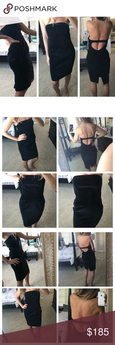 Club Monaco black strapless open back dress Extremely elegant, classy and posh black dress by CLUB MONACO; size 0. Length goes to about knees or a little higher,  depending on height. Back has a peekaboo effect w/elastic band for flexibility in bust size. Chest area has boning for better structure. Waist cinched. Back has a short slit. Shell material is 90% cotton + 2% spandex; lining is. 93% polyester + 7% spandex. Worn once; in excellent, beautiful condition. Elegant + classy dress for…