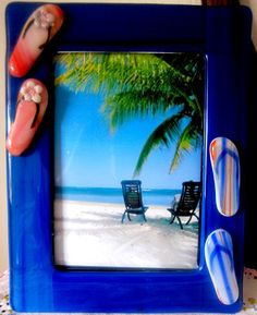 Blue 5x7 FlipFlop frame holds a 5x7 photo by SimmerGlassWorks, $35.00