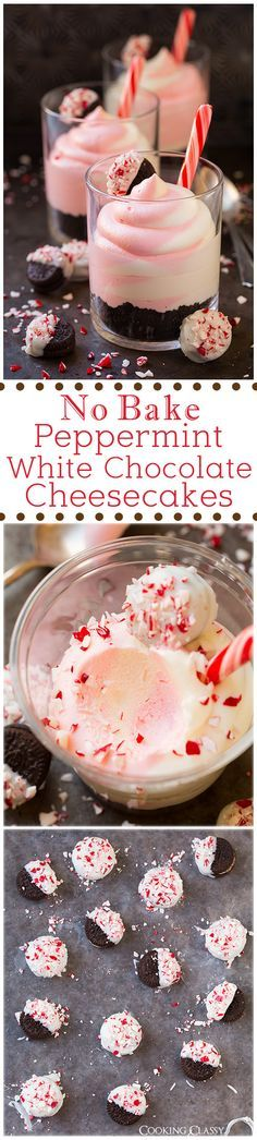 No Bake Peppermint White Chocolate Cheesecakes (with White Chocolate Peppermint Dipped Mini Oreos) - these are AMAZING! Easy to make and they have the perfect texture and flavor. That's my Christmas food all sorted! Best Christmas Desserts, Christmas Cooking, Christmas Treats, Holiday Recipes, Christmas Parties, Xmas Desserts, Christmas Foods, Simple Christmas, Light Desserts