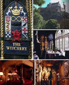 The Witchery - A Hogwarts-esque hotel in Edinburgh, Scotland. Boasts Baroque style, over the top rooms inside a century castle. With great food! Edinburgh Hotels, Edinburgh Castle, Edinburgh Uk, Oh The Places You'll Go, Places To Travel, Travel Stuff, Outlander, Scotland Travel, Scotland Trip