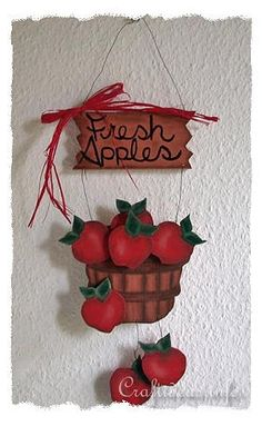 Wood Craft for Autumn - Kitchen Decoration - Wooden Apples Sign