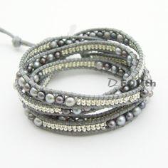 Black Freshwater pearl Japan seed beads Wrap Bracelet