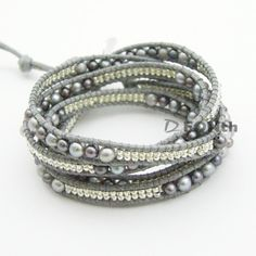 Black Freshwater pearl Japan seed beads Wrap Bracelet