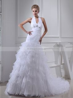 Beaded Halter Straps Organza and Satin Wedding Dress with Ruffles