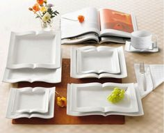 Book Shaped Plates - if only we'd been able to add these to our wedding registry! So fun. :)