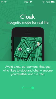 Social Networking, Cloak, Real Life Incognito Mode App, Avoid Running into Exes or Awkward People using this app Mobile Watch, Mobile App, Mobile Ui Design, App Design, Interface Design, User Interface, Mobile Ui Patterns, Tablet Ui, Visual Hierarchy