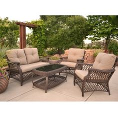 The Four Piece Adele By Walker Edison Is A Woven Pvc Rattan Conversation Set With Tufted Cushions And Antique Textured Aluminum Frame Outdoor Sofas Chairs
