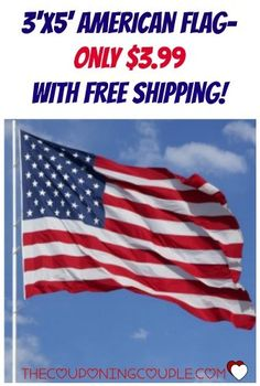 WOW! Show your patriotism with a 3'x5' American Flag! Only $3.99 shipped! Perfect for every day displays or special occasions!  Click the link below to get all of the details ► http://www.thecouponingcouple.com/american-flag-3x5-for-only-3-99-shipped/  #Coupons #Couponing #CouponCommunity  Visit us at http://www.thecouponingcouple.com for more great posts!