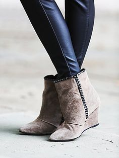 Up All Night Wedge Boot | Pointy toe suede booties with contrast stitching. Wedge heel. *By Charles by Charles David **Please Note: The Tobacco color way is lighter in person than it appears in our imagery.