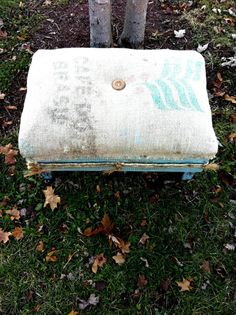Rustic  Farmhouse Vintage Burlap Footstool by antique2chic on Etsy, $125.00
