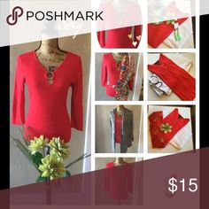 ❣Perfect Red Top ❤️ Beautiful Red ribbed top with silver tone keyhole ring, no neckless needed, 62% Viscose 38% Nylon Cable & Gauge Tops Blouses