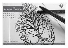 Punctured Artefact creates handmade tattooed and tooled leather art.Bespoke , Custom tattoo design & ready to wear tattoo flash art.Unique ink.Geometric organic