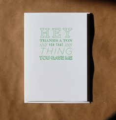 Funny Thank You Card // Thanks a Ton by RagsAndWidows on Etsy, $4.00