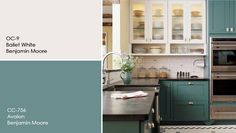 cream and teal cabinets-benjamin moore painters place