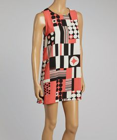 Love this Coral & Black Abstract Sleeveless Tunic by Hug on #zulily! #zulilyfinds