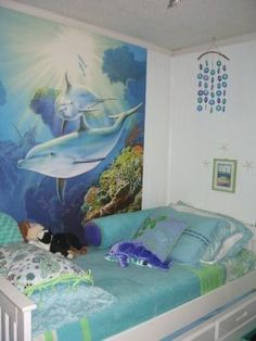 Teen Girl Bedrooms idea 2485680517 - Super Dazzling range on bedroom decor notes. For added piece of cake decor ideas please jump to the link to read the website at once Sea Bedrooms, Teen Girl Bedrooms, Bedroom Themes, Bedroom Decor, Bedroom Ideas, Bedroom Beach, Glam Bedroom, Dolphin Bedroom, Ocean Room