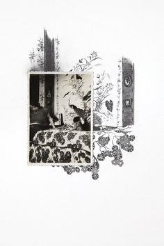 Drawing with Vintage Photo- Woman in with Chinoiserie Wallpaper