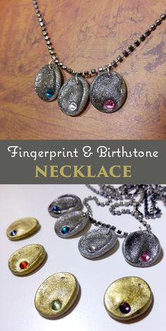 Diy fingerprint birthstone necklace gifts for her Simple Jewelry, Diy Jewelry, Handmade Jewelry, Jewelry Making, Fashion Jewelry, Jewellery, Fingerprint Necklace, Anniversary Jewelry, Diamond Solitaire Necklace