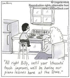 Piano teacher humor.