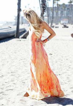 peach maxi dress summer long beach beautiful Fashion women outfit clothing apparel style sunglasses