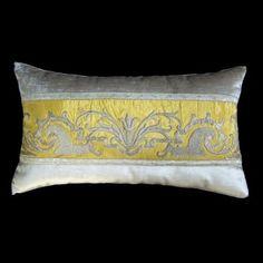 Antique French silver metallic embroidered pillow | B. Viz Design | bviz.com