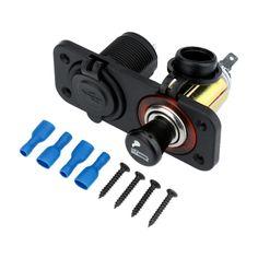 Dual USB Car Cigarette Lighter Socket Splitter Charger Adapter + Socket 12V Plug with Panel