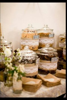 Burlap and Lace Wedding - cookie bar for dessert! Stamp small brown bags for guests to put their cookies in