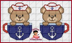 Viviane Alfêna - Gráficos e Bordados Kawaii Cross Stitch, Mini Cross Stitch, Cross Stitch Designs, Cross Stitch Patterns, Fair Isle Chart, Baby Sweaters, Hama Beads, Plastic Canvas, Cross Stitching