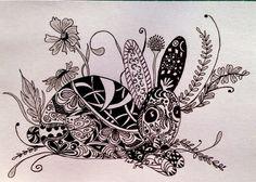 Lieschens-Bilder: Zentangle 213  Hase mit Blumen