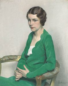 Sir Herbert James Gunn, R.A. (1893-1964) Portrait of a Lady wearing a green Dress