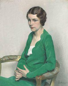 Lady wearing a green dress by Sir Herbert James Gunn