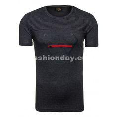 Pánske tričko krátky rukáv v sivej farbe so zipsom v prednej časti - fashionday.eu Zip, Mens Tops, T Shirt, Fashion, Supreme T Shirt, Moda, Tee Shirt, Fashion Styles, Fashion Illustrations