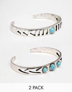 Enlarge ASOS Festival Stone Cut Out Cuff Bracelets
