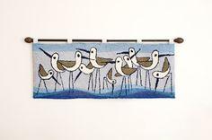 Vintage Large Mod Sandpiper Bird Tapestry Rug - Mid Century on Etsy, $350.00