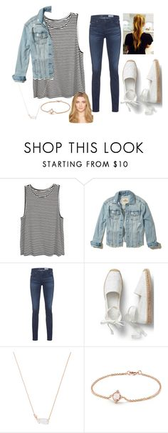 """Denim on denim"" by murrdaisy ❤ liked on Polyvore featuring Hollister Co., AG Adriano Goldschmied, Kendra Scott and David Yurman"