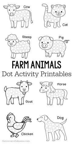 These farm animals dot activity printables are a fun fine motor activity for toddlers and preschoolers that will make a addition to your farm unit. They work great with Do a Dot markers, bingo markers, dot stickers, or pom poms. do a dot Farm Animals Preschool, Farm Animal Crafts, Preschool Learning, Toddler Preschool, Preschool Crafts, Farm Animals For Kids, Preschool Farm Theme, Farm Theme Classroom, Farm Theme Crafts