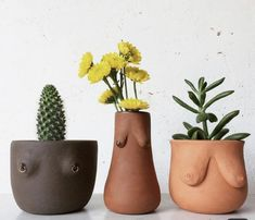 Quirky plant pot holders - boobs - Plant in flowerpot Ceramic Pottery, Pottery Art, Ceramic Art, Ceramic Plant Pots, Clay Pots, Diy Clay, Clay Crafts, Fleurs Diy, Clay Art Projects