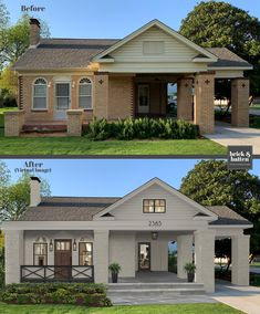 The monochromatic color palette helps reduce the bulkiness from the columns and makes this house look fresh and airy. House Paint Exterior, Exterior Paint Colors, Exterior House Colors, House Exterior Design, Home Exterior Makeover, Exterior Remodel, Up House, House Front, House Makeovers