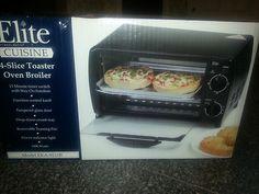 NIB * Elite Cuisine * 4 Slice Toaster Oven Broiler * Model EKA 9210B