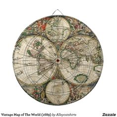 Vintage Map of The World (1689) Dartboard With Darts