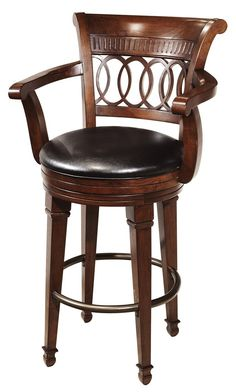 697026 Howard Miller Leather Bar Stool Chair In Cherry Cortland