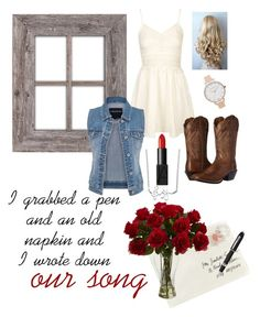 """""""Our Song"""" by lexaayyliz on Polyvore featuring Topshop, Moschino, Olivia Burton, Fountain, Ariat, NARS Cosmetics, maurices and Unwritten"""