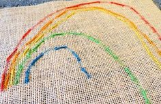 cycle 2- burlap weaving/ color theory  Childhood 101 beginning stitchery for kids rainbow plus tons of craft ideas for children