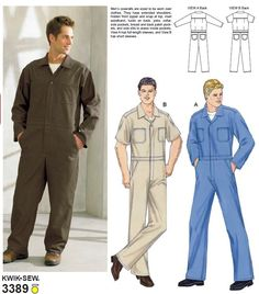 Kwik Sew 3389 made up example on this page Mechanic Overalls, Mechanic Jumpsuit, Dickies Coveralls, Work Coveralls, Kwik Sew Patterns, Clothing Patterns, Vintage Jumpsuit, Jumpsuit Pattern, Textiles