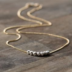 Nuggets Silver & Gold Necklace - 14K Gold Filled Chain - Simple Minimalist Everyday Necklace - Modern Everyday Jewelry