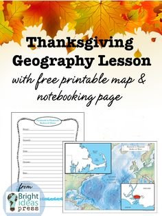 Thanksgiving geography notebooking page and map
