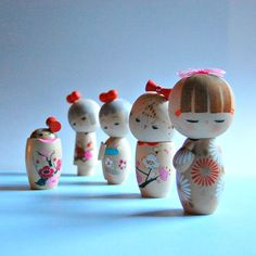 70s Kokeshi Doll Set Hand Painted Wood Dolls Instant by SageGoods, $175.00